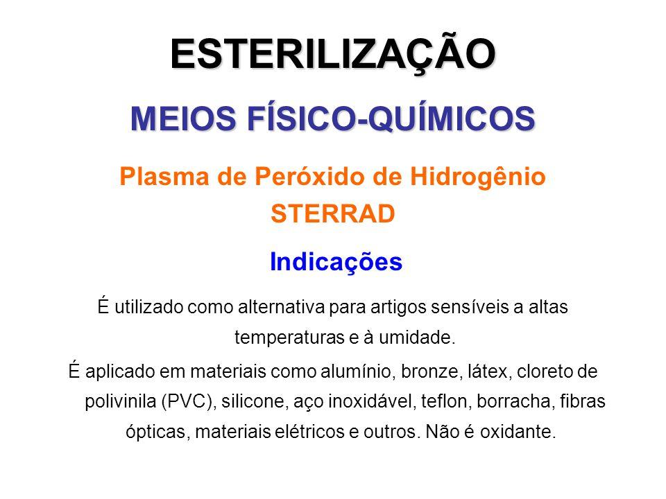 ESTERILIZAÇÃO MEIOS FÍSICO-QUÍMICOS Plasma de Peróxido de Hidrogênio STERRAD Indicações É utilizado como alternativa para artigos sensíveis a altas te