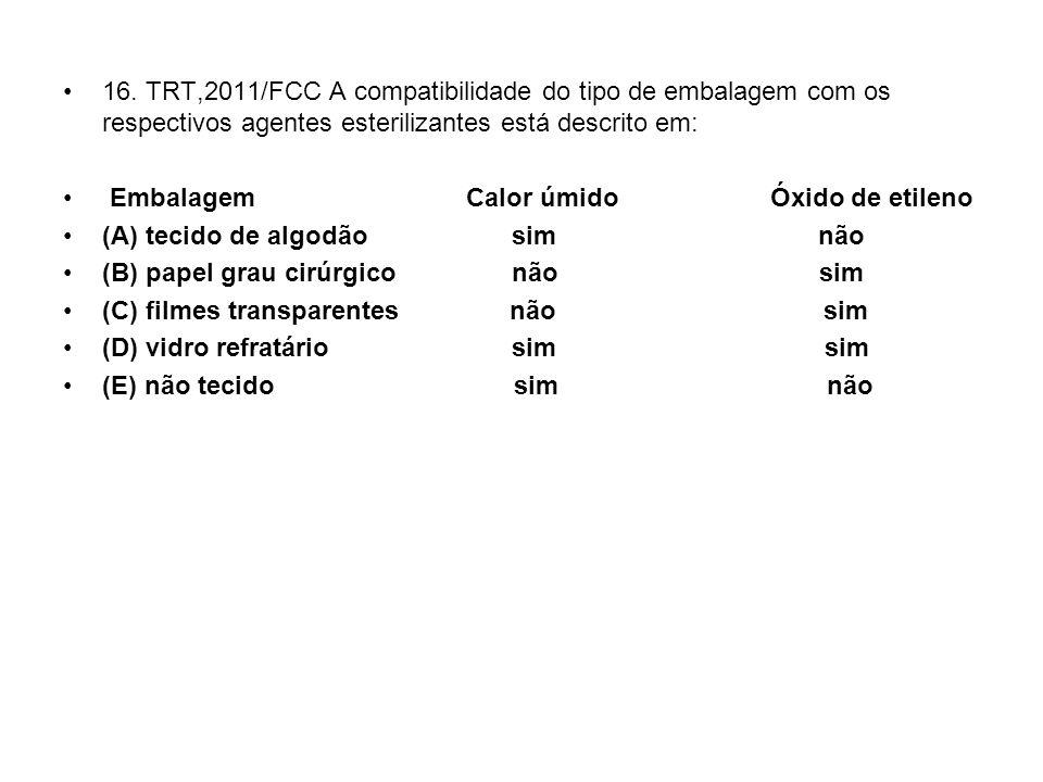 16. TRT,2011/FCC A compatibilidade do tipo de embalagem com os respectivos agentes esterilizantes está descrito em: Embalagem Calor úmido Óxido de eti