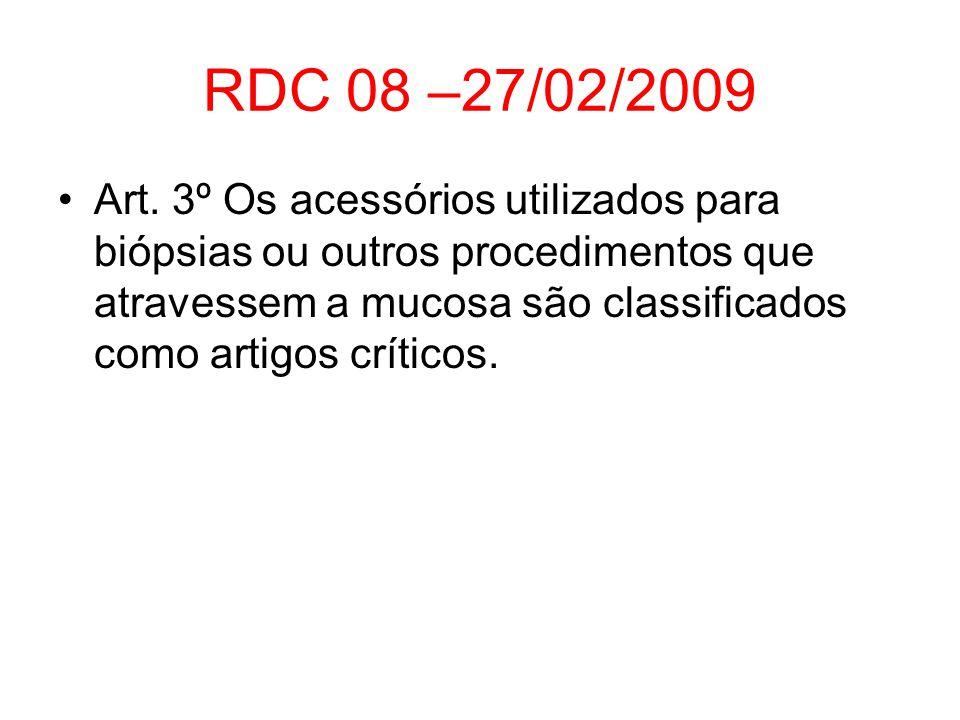 RDC 08 –27/02/2009 Art. 3º Os acessórios utilizados para biópsias ou outros procedimentos que atravessem a mucosa são classificados como artigos críti
