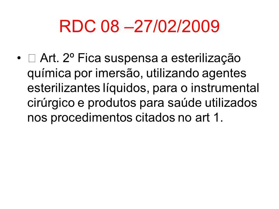 RDC 08 –27/02/2009 Art. 2º Fica suspensa a esterilização química por imersão, utilizando agentes esterilizantes líquidos, para o instrumental cirúrgic
