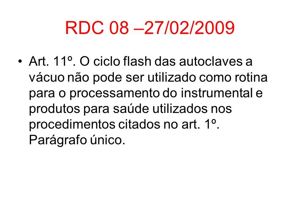 RDC 08 –27/02/2009 Art. 11º. O ciclo flash das autoclaves a vácuo não pode ser utilizado como rotina para o processamento do instrumental e produtos p