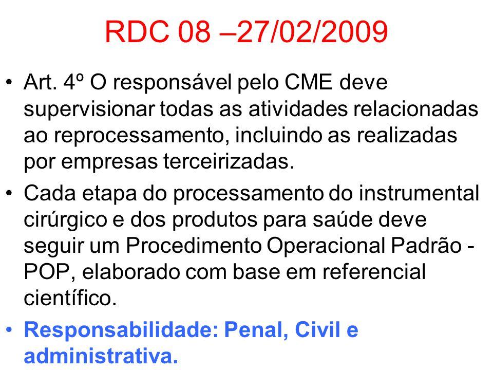 RDC 08 –27/02/2009 Art. 4º O responsável pelo CME deve supervisionar todas as atividades relacionadas ao reprocessamento, incluindo as realizadas por
