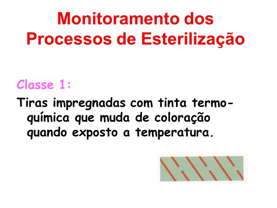 Monitoramento dos Processos de Esterilização Classe 1: Tiras impregnadas com tinta termo- química que muda de coloração quando exposto a temperatura.