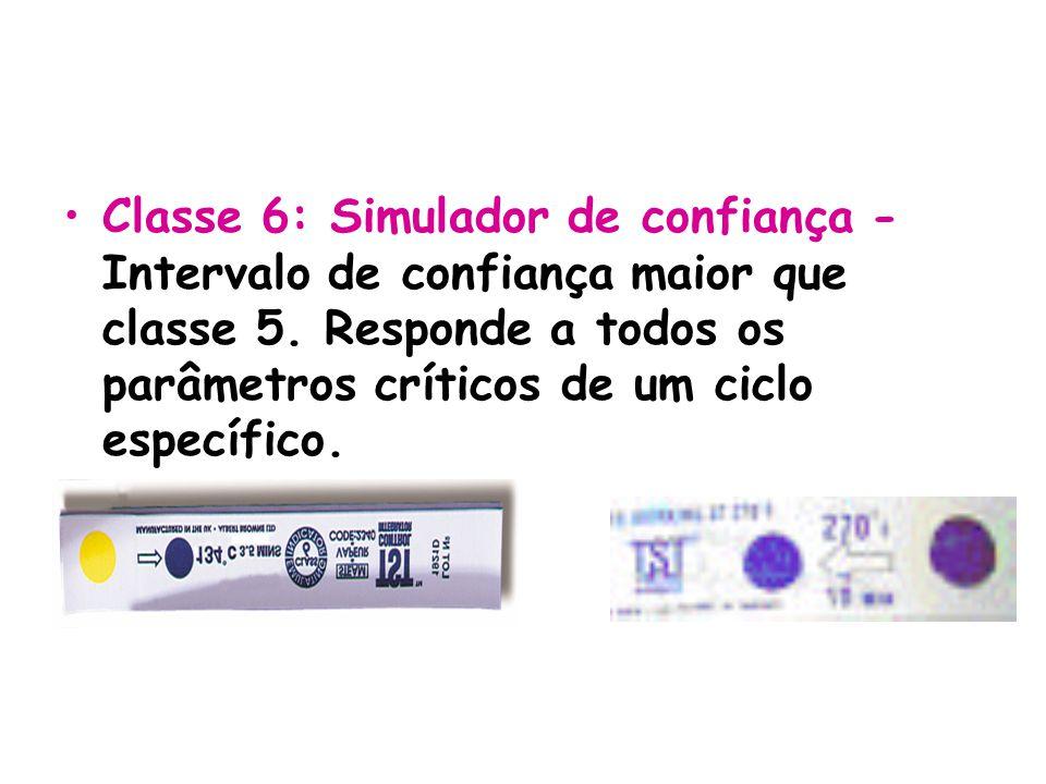 Classe 6: Simulador de confiança - Intervalo de confiança maior que classe 5. Responde a todos os parâmetros críticos de um ciclo específico.