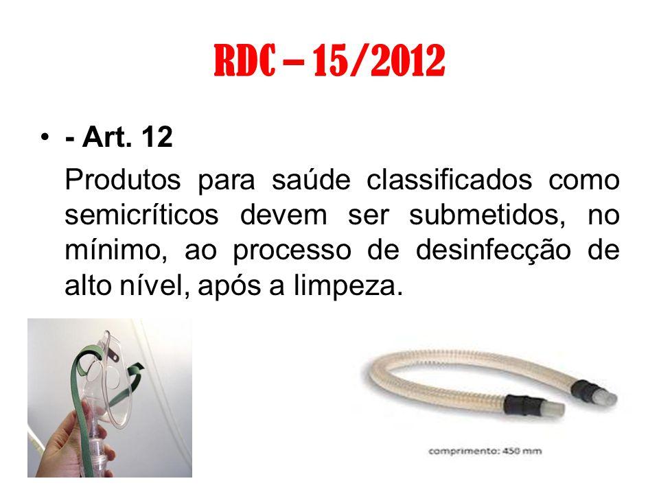 RDC – 15/2012 - Art. 12 Produtos para saúde classificados como semicríticos devem ser submetidos, no mínimo, ao processo de desinfecção de alto nível,
