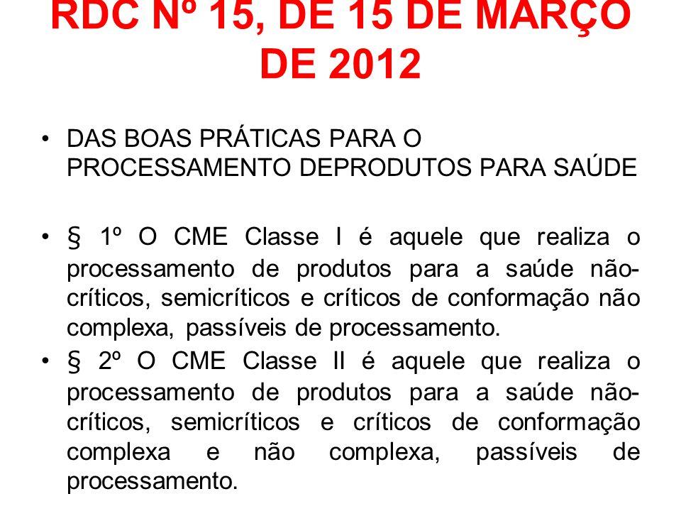 RDC Nº 15, DE 15 DE MARÇO DE 2012 DAS BOAS PRÁTICAS PARA O PROCESSAMENTO DEPRODUTOS PARA SAÚDE § 1º O CME Classe I é aquele que realiza o processament