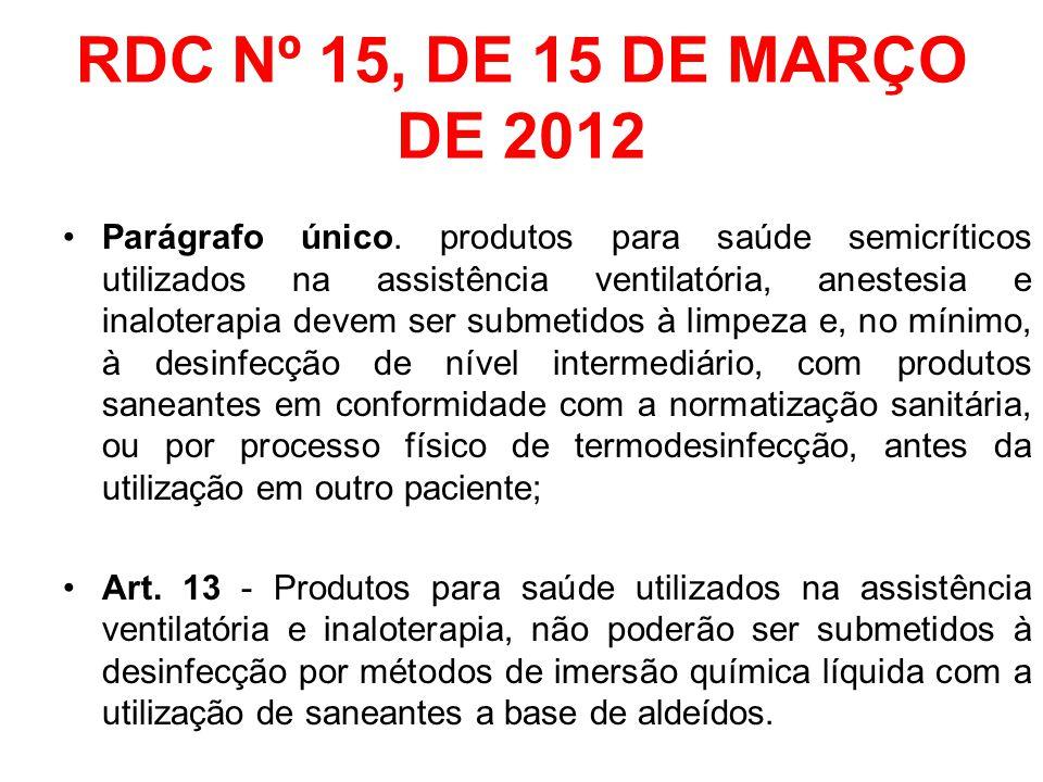 RDC Nº 15, DE 15 DE MARÇO DE 2012 Parágrafo único. produtos para saúde semicríticos utilizados na assistência ventilatória, anestesia e inaloterapia d