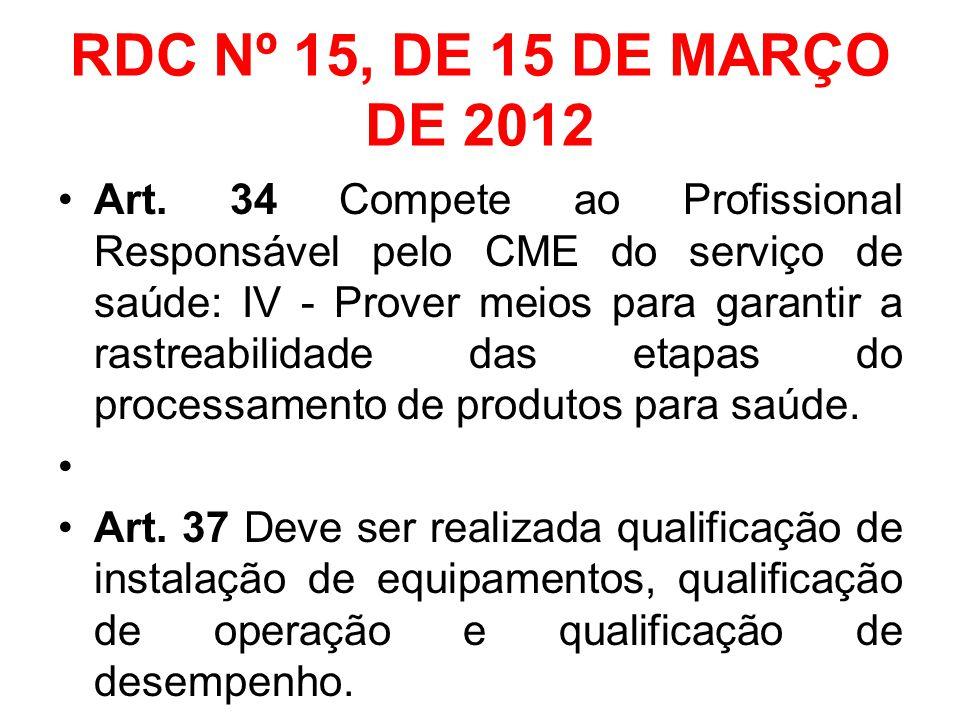 RDC Nº 15, DE 15 DE MARÇO DE 2012 Art. 34 Compete ao Profissional Responsável pelo CME do serviço de saúde: IV - Prover meios para garantir a rastreab
