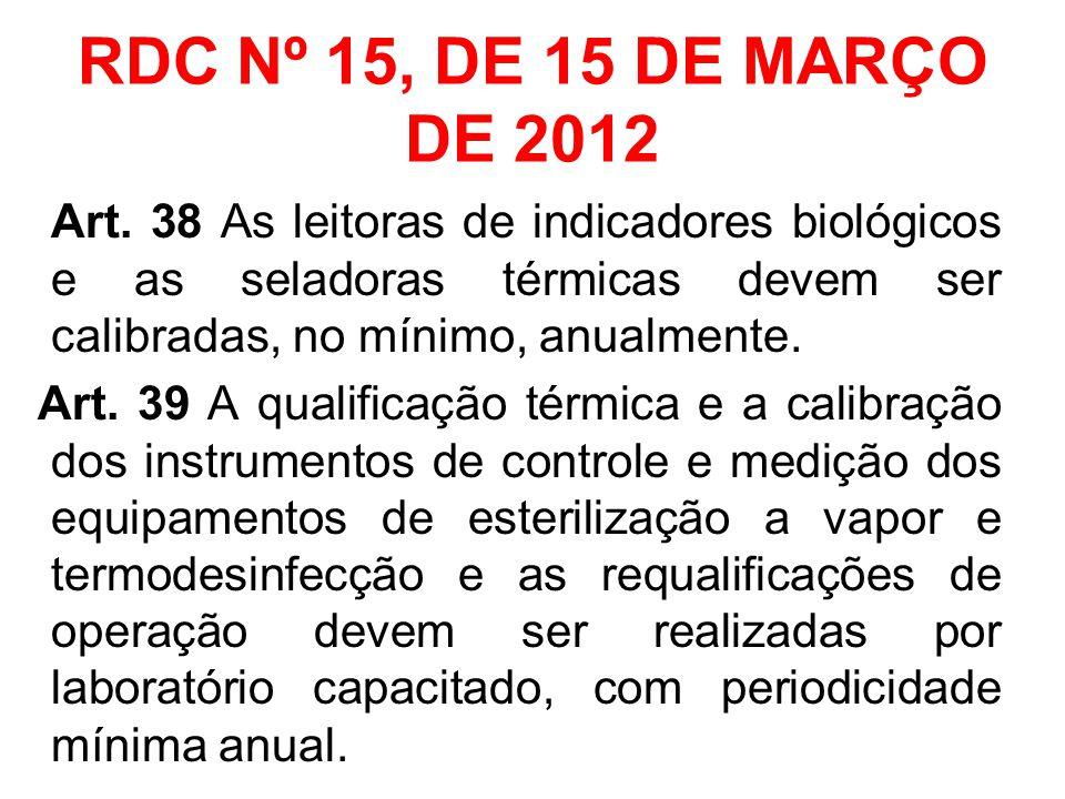 RDC Nº 15, DE 15 DE MARÇO DE 2012 Art. 38 As leitoras de indicadores biológicos e as seladoras térmicas devem ser calibradas, no mínimo, anualmente. A