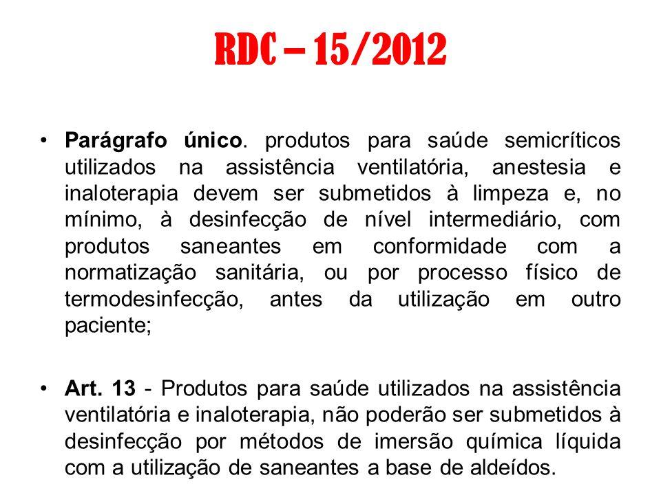 RDC – 15/2012 Parágrafo único. produtos para saúde semicríticos utilizados na assistência ventilatória, anestesia e inaloterapia devem ser submetidos