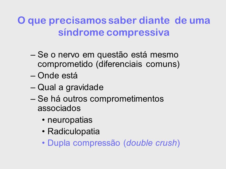 O que precisamos saber diante de uma síndrome compressiva –Se o nervo em questão está mesmo comprometido (diferenciais comuns) –Onde está –Qual a gravidade –Se há outros comprometimentos associados neuropatias Radiculopatia Dupla compressão (double crush)