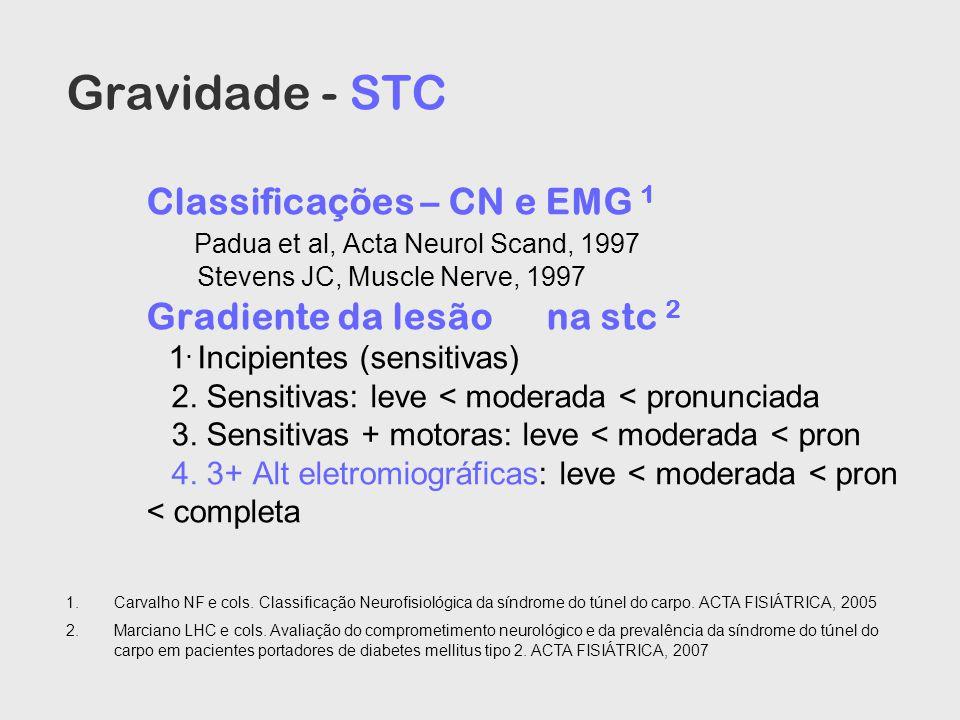 Gravidade - STC Classificações – CN e EMG 1 Padua et al, Acta Neurol Scand, 1997 Stevens JC, Muscle Nerve, 1997 Gradiente da lesãona stc 2 1. Incipien