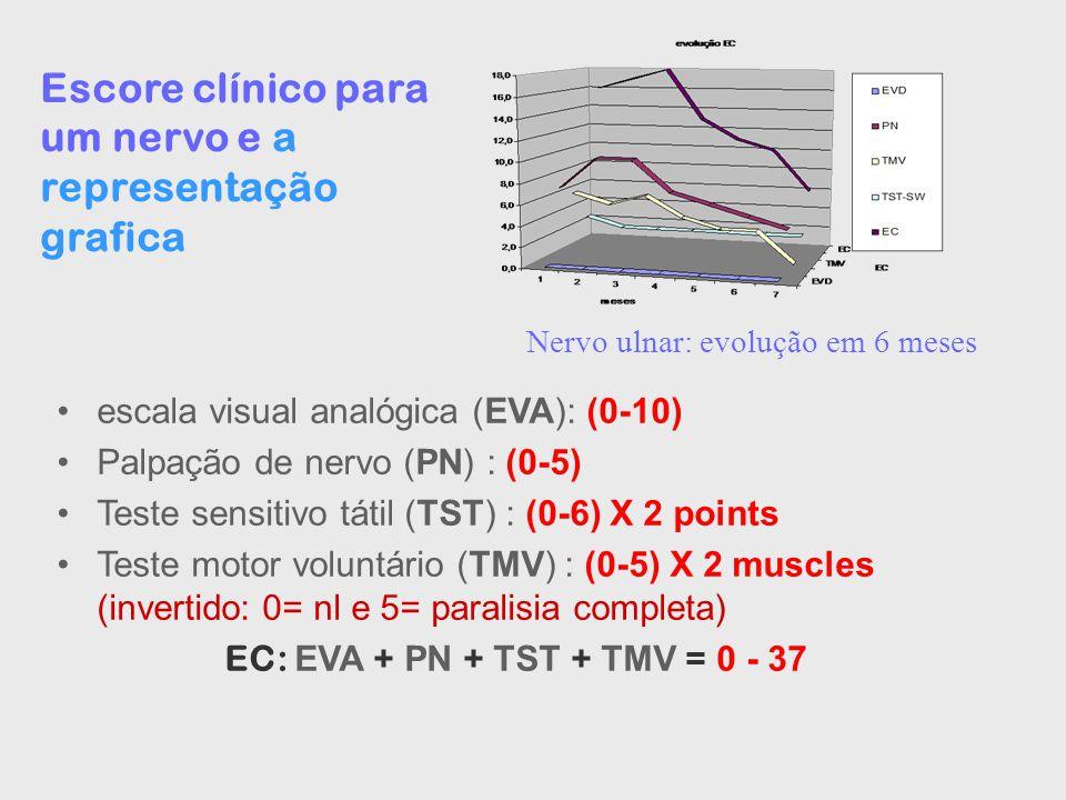Escore clínico para um nervo e a representação grafica escala visual analógica (EVA): (0-10) Palpação de nervo (PN) : (0-5) Teste sensitivo tátil (TST