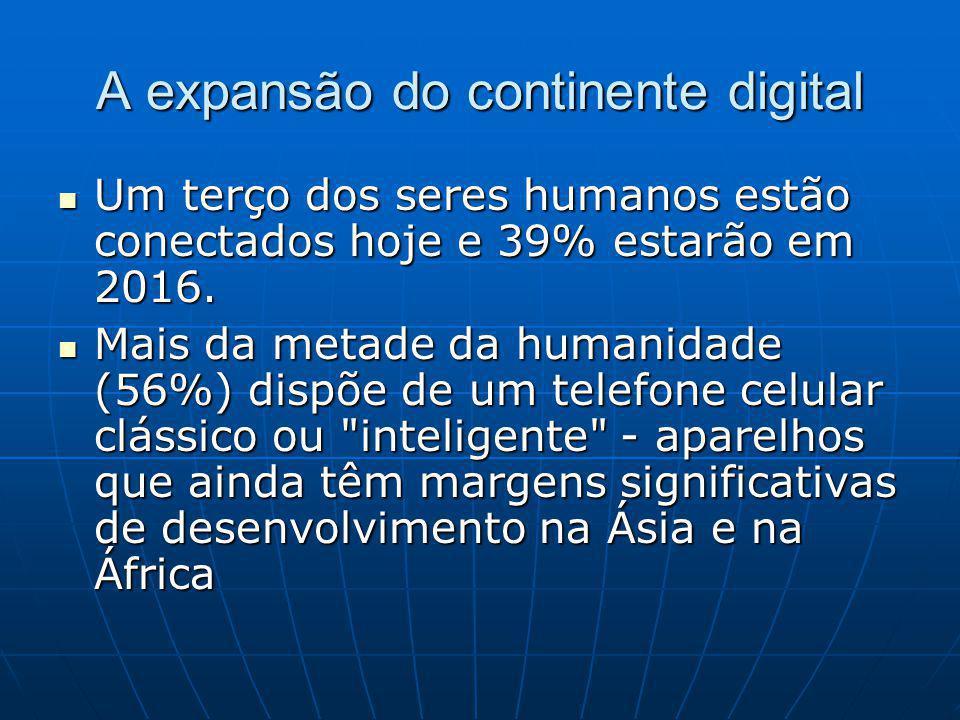 A expansão do continente digital Um terço dos seres humanos estão conectados hoje e 39% estarão em 2016.
