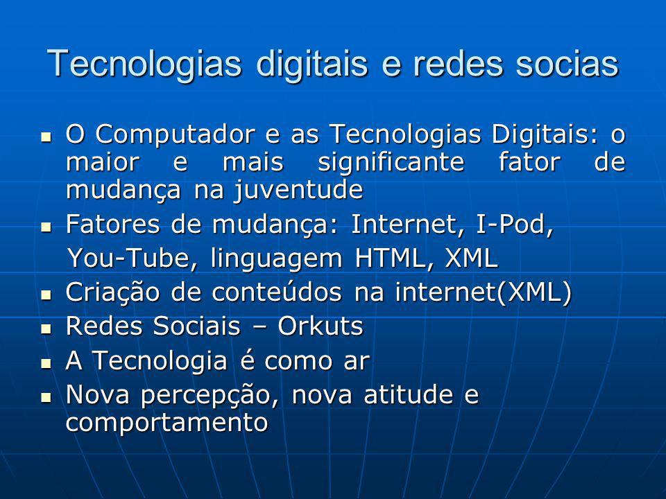 Tecnologias digitais e redes socias O Computador e as Tecnologias Digitais: o maior e mais significante fator de mudança na juventude O Computador e as Tecnologias Digitais: o maior e mais significante fator de mudança na juventude Fatores de mudança: Internet, I-Pod, Fatores de mudança: Internet, I-Pod, You-Tube, linguagem HTML, XML You-Tube, linguagem HTML, XML Criação de conteúdos na internet(XML) Criação de conteúdos na internet(XML) Redes Sociais – Orkuts Redes Sociais – Orkuts A Tecnologia é como ar A Tecnologia é como ar Nova percepção, nova atitude e comportamento Nova percepção, nova atitude e comportamento