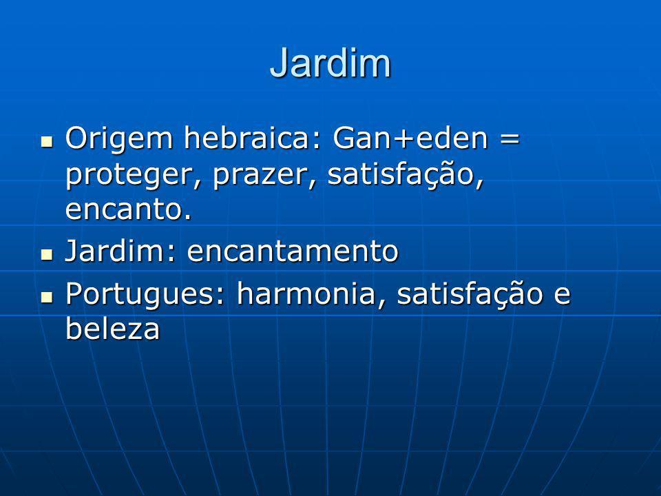 Jardim Origem hebraica: Gan+eden = proteger, prazer, satisfação, encanto.