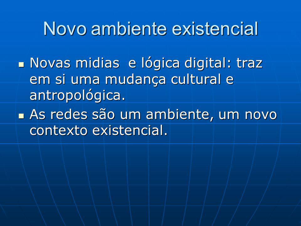 Novo ambiente existencial Novas midias e lógica digital: traz em si uma mudança cultural e antropológica.