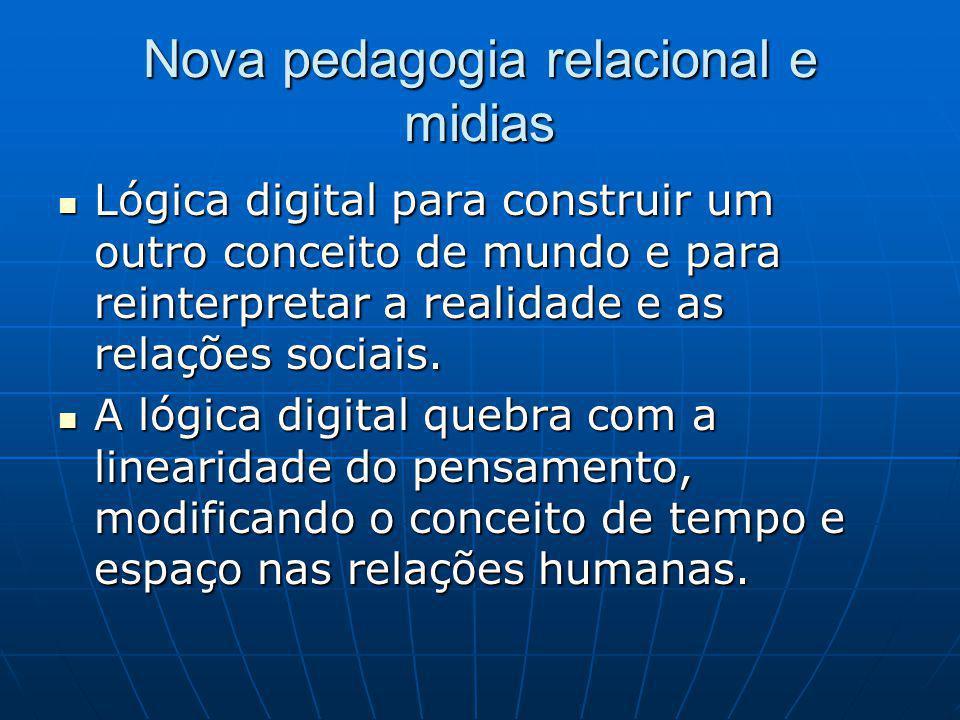 Nova pedagogia relacional e midias Lógica digital para construir um outro conceito de mundo e para reinterpretar a realidade e as relações sociais.