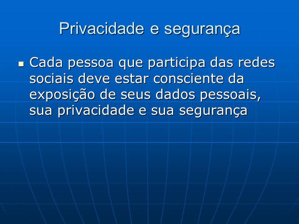 Privacidade e segurança Cada pessoa que participa das redes sociais deve estar consciente da exposição de seus dados pessoais, sua privacidade e sua segurança Cada pessoa que participa das redes sociais deve estar consciente da exposição de seus dados pessoais, sua privacidade e sua segurança