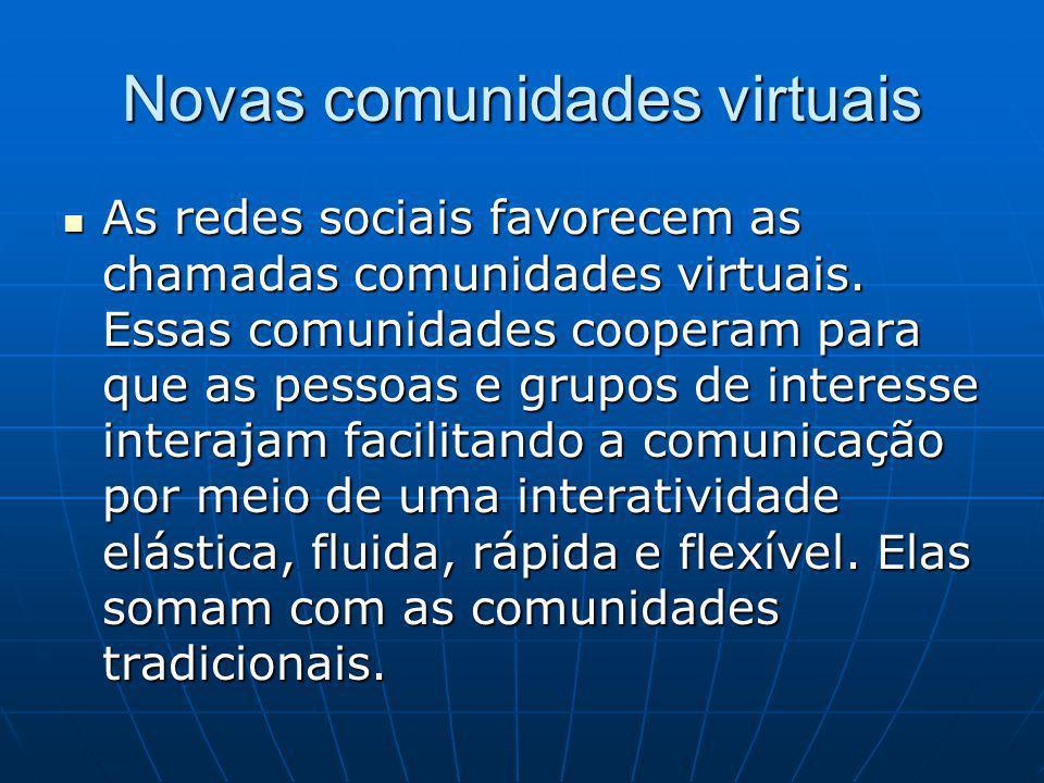 Novas comunidades virtuais As redes sociais favorecem as chamadas comunidades virtuais.