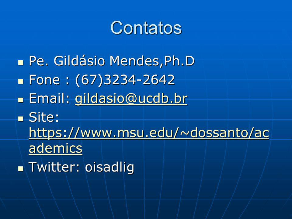 Contatos Pe. Gildásio Mendes,Ph.D Pe.