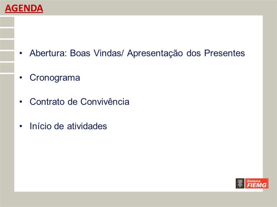 CRONOGRAMA EXPORTAÇÃO SINDMEC/IEL/FIEMG/CIN - BELO HORIZONTE Unidade de ConteúdoInícioFimCarga Horária 1º MÓDULO - MANHÃ7h59 0 1) Abertura, Apresentação, Mapeamento de Expectativas e Contrato de Conveniência – Dr.