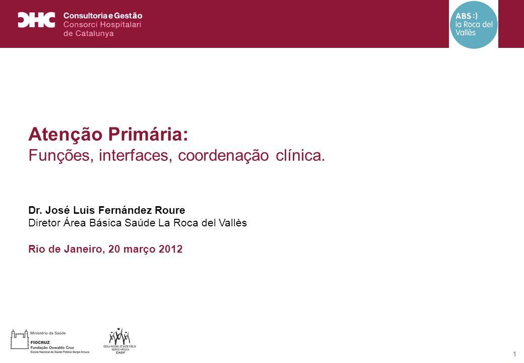 Título general da apresentação - CHC Consultoria e Gestão 1 Atenção Primária: Funções, interfaces, coordenação clínica. Dr. José Luis Fernández Roure