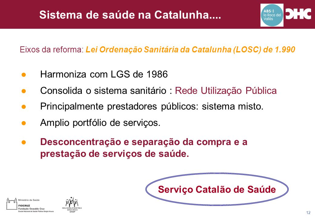 Título general da apresentação - CHC Consultoria e Gestão 12 Sistema de saúde na Catalunha.... ●Desconcentração e separação da compra e a prestação de