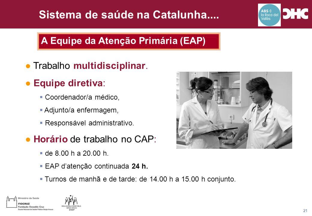 Título general da apresentação - CHC Consultoria e Gestão 21 Sistema de saúde na Catalunha.... A Equipe da Atenção Primária (EAP) ● Trabalho multidisc