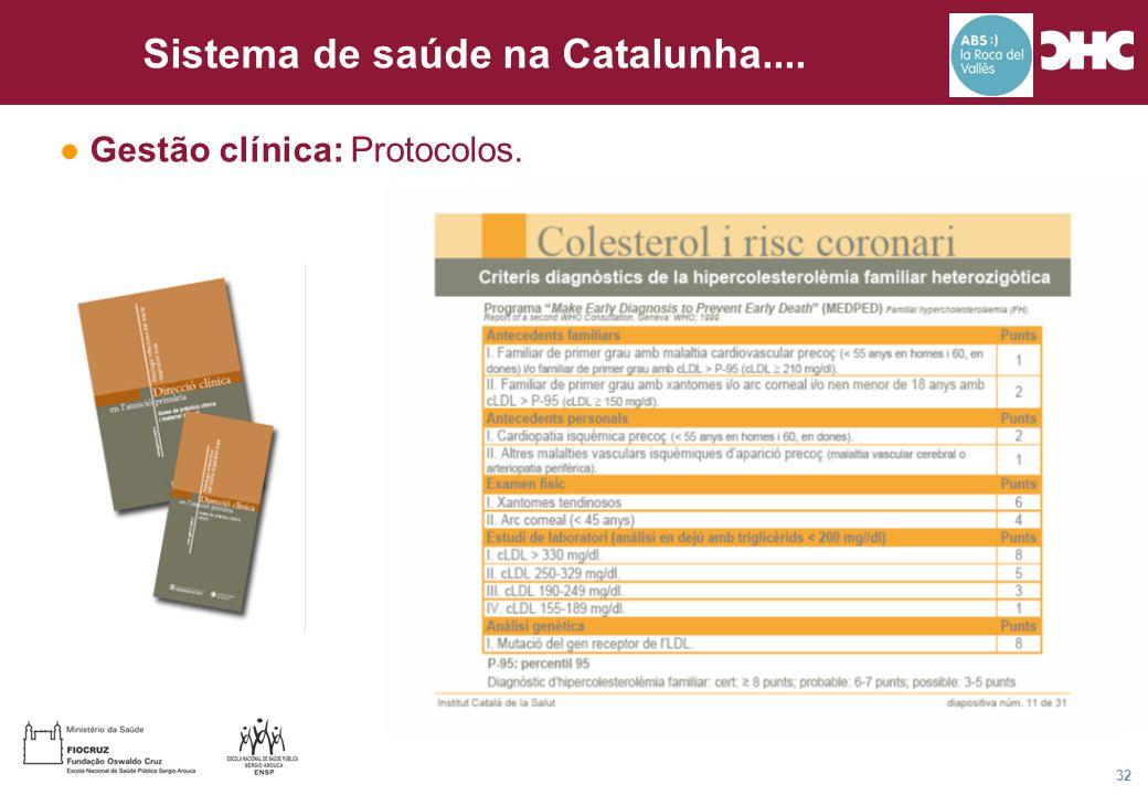 Título general da apresentação - CHC Consultoria e Gestão 32 Sistema de saúde na Catalunha.... ● Gestão clínica: Protocolos.
