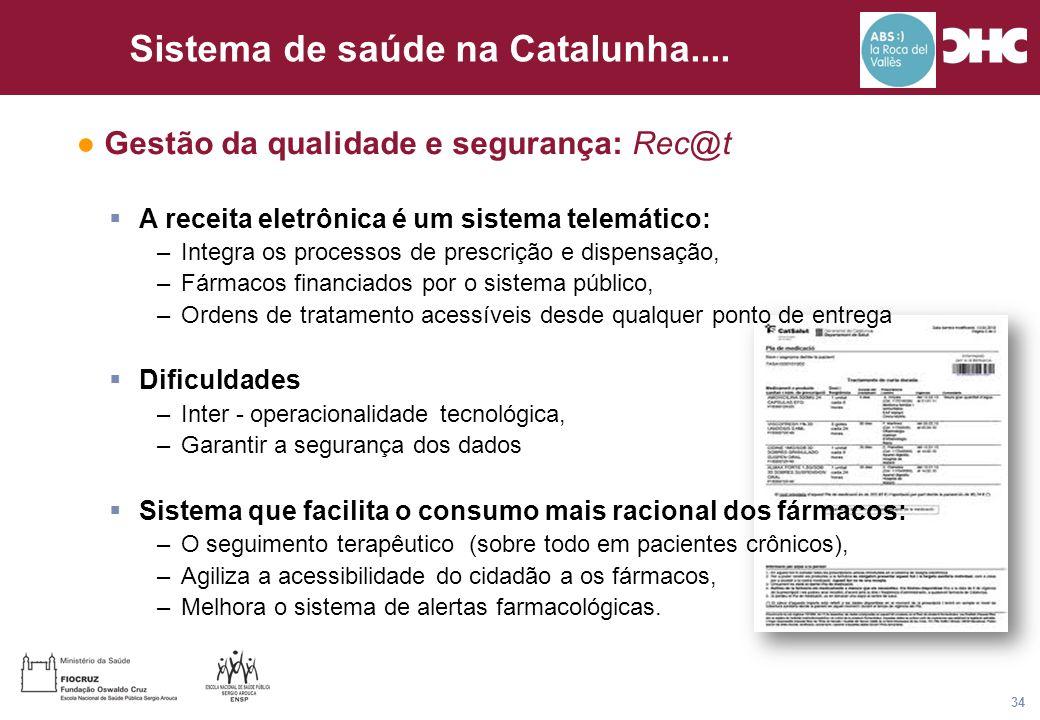 Título general da apresentação - CHC Consultoria e Gestão 34 Sistema de saúde na Catalunha.... ● Gestão da qualidade e segurança: Rec@t  A receita el