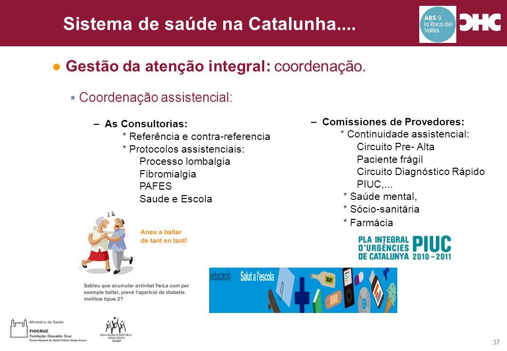 Título general da apresentação - CHC Consultoria e Gestão 37 Sistema de saúde na Catalunha....  Coordenação assistencial: –As Consultorias: * Referên