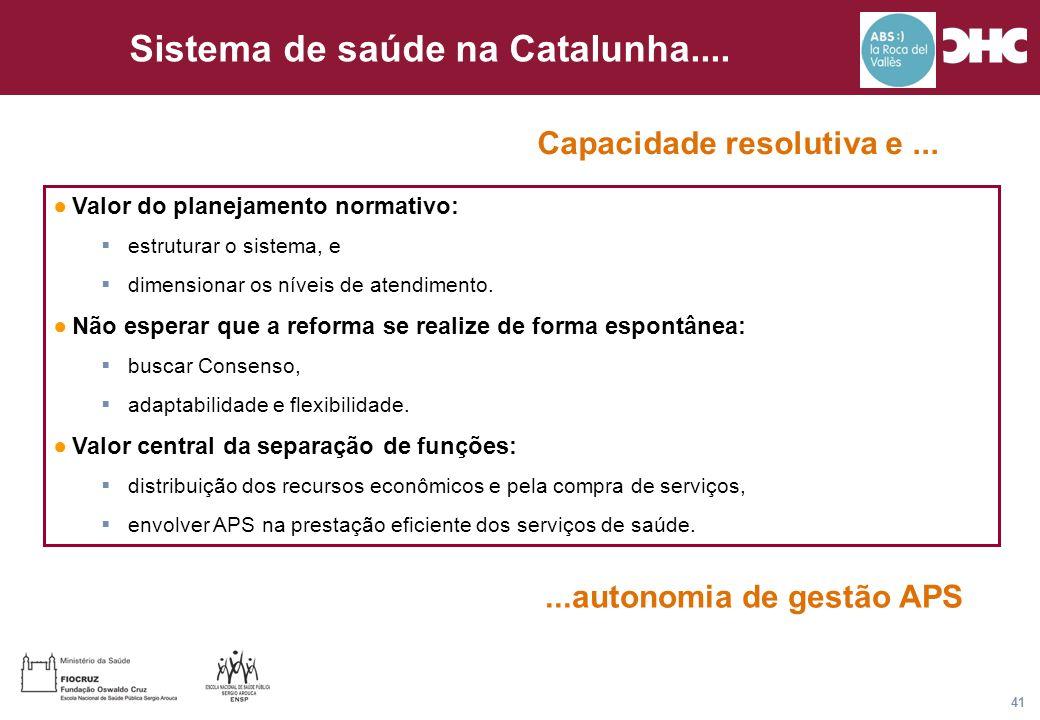 Título general da apresentação - CHC Consultoria e Gestão 41 Sistema de saúde na Catalunha.... ●Valor do planejamento normativo:  estruturar o sistem