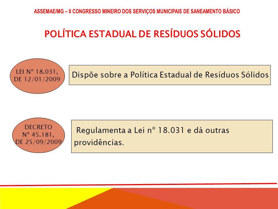 POLÍTICA NACIONAL DE RESÍDUOS SÓLIDOS - PNRS LEI Nº 12.305, DE 02/08/2010 DECRETO Nº 7.404, DE 23/12/2010 DECRETO Nº 7.405 DE 23/12/2010 Institui o Pr