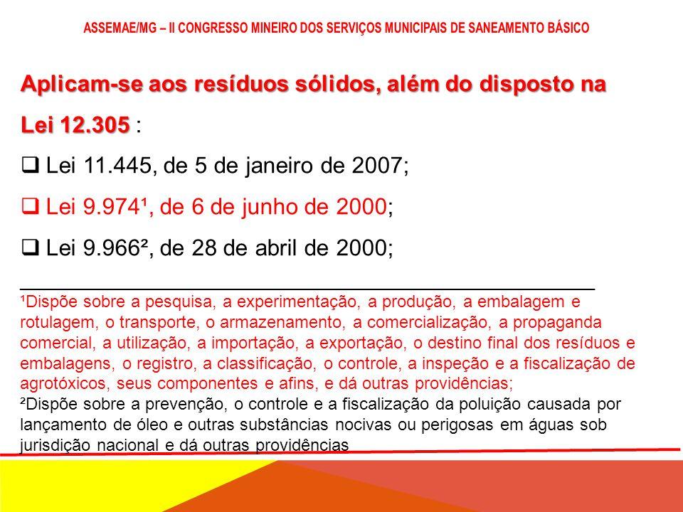 Lei 12.305, de 2 de agosto de 2010 Lei 12.305, de 2 de agosto de 2010:  Estão sujeitas à observância desta Lei as pessoas físicas ou jurídicas, de di