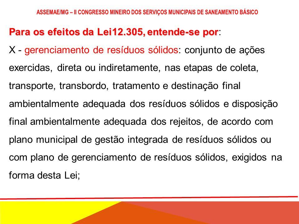 Para os efeitos da Lei12.305, entende-se por Para os efeitos da Lei12.305, entende-se por: V - coleta seletiva; VI - controle social: conjunto de meca