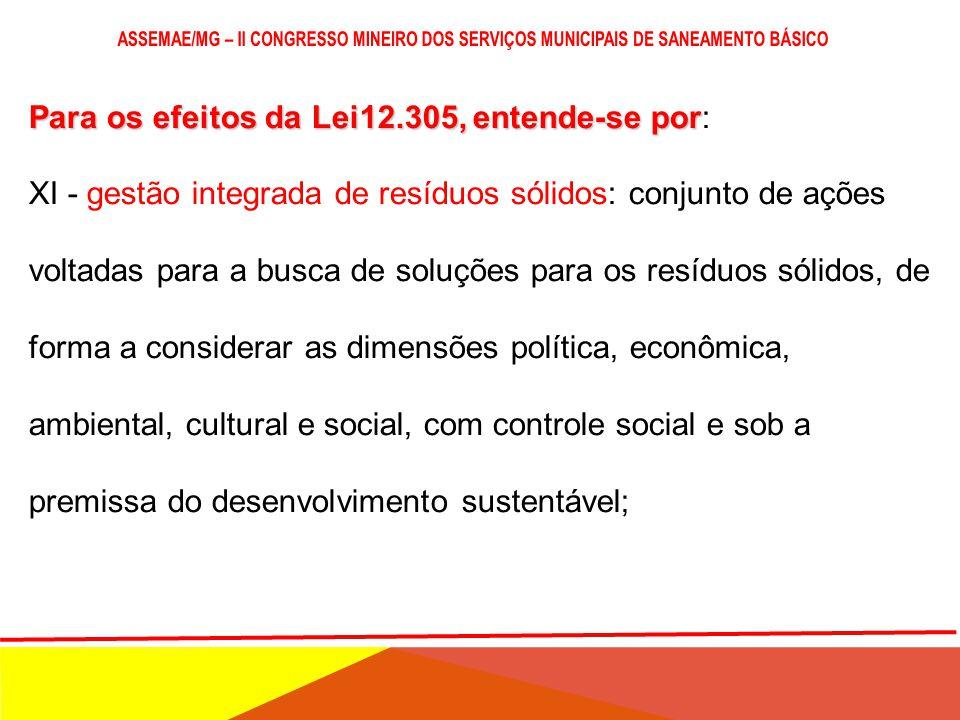 Para os efeitos da Lei12.305, entende-se por Para os efeitos da Lei12.305, entende-se por: X - gerenciamento de resíduos sólidos: conjunto de ações ex