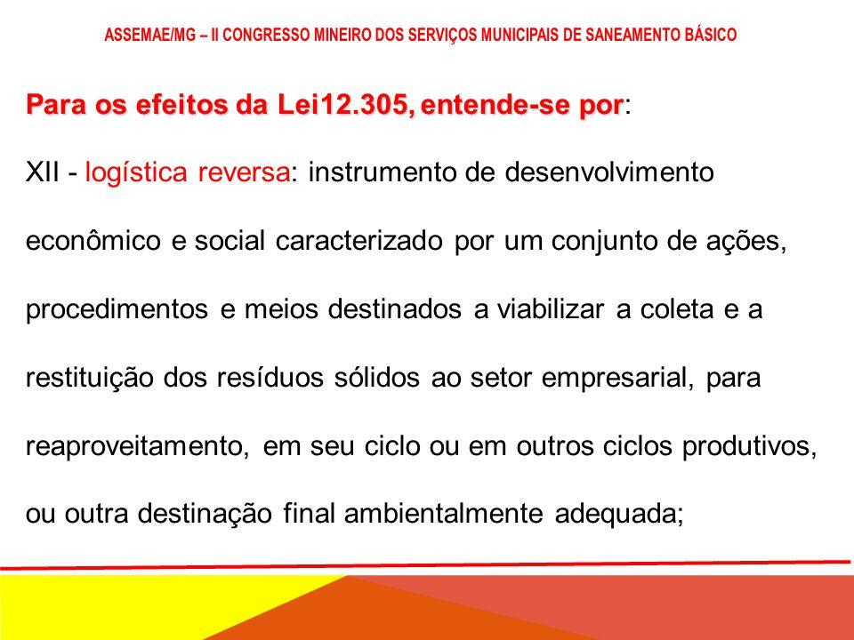 Para os efeitos da Lei12.305, entende-se por Para os efeitos da Lei12.305, entende-se por: XI - gestão integrada de resíduos sólidos: conjunto de açõe
