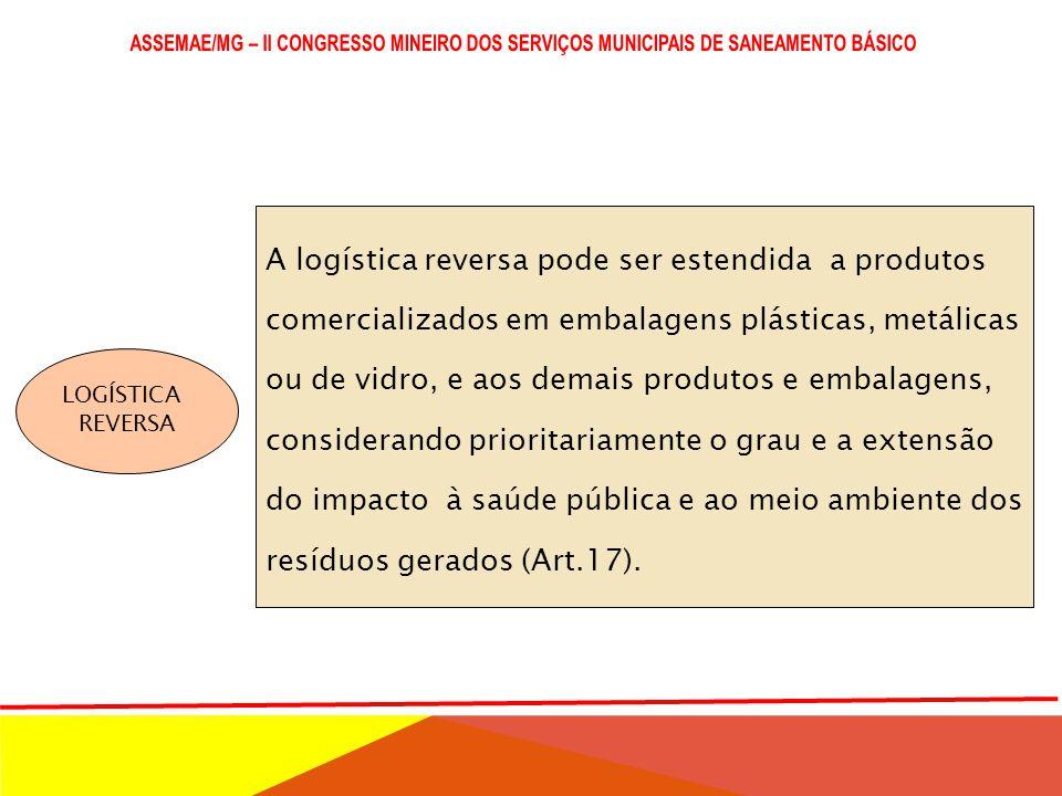 LOGÍSTICA REVERSA São obrigados a estruturar e implementar sistemas de logística reversa: I - agrotóxicos, seus resíduos e embalagens; II - pilhas e b