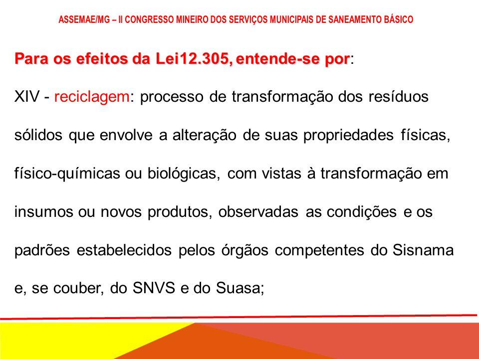 Para os efeitos da Lei12.305, entende-se por Para os efeitos da Lei12.305, entende-se por: XIII - padrões sustentáveis de produção e consumo: produção