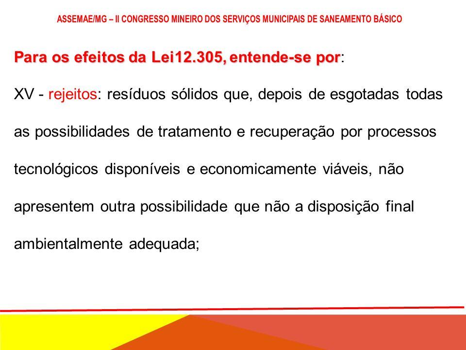 Para os efeitos da Lei12.305, entende-se por Para os efeitos da Lei12.305, entende-se por: XIV - reciclagem: processo de transformação dos resíduos só