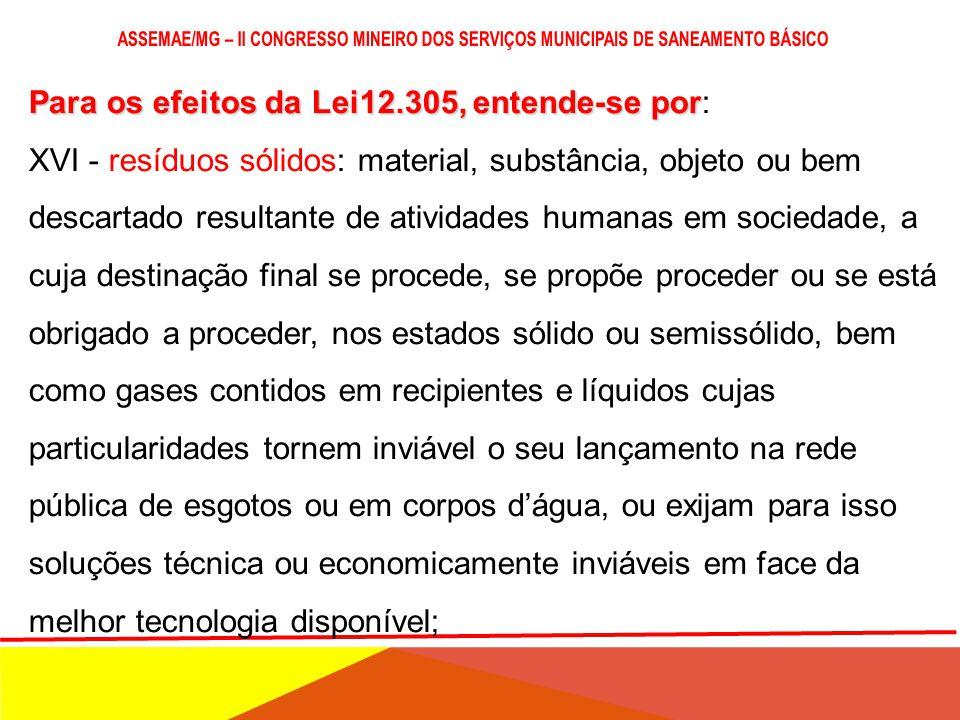 Para os efeitos da Lei12.305, entende-se por Para os efeitos da Lei12.305, entende-se por: XV - rejeitos: resíduos sólidos que, depois de esgotadas to