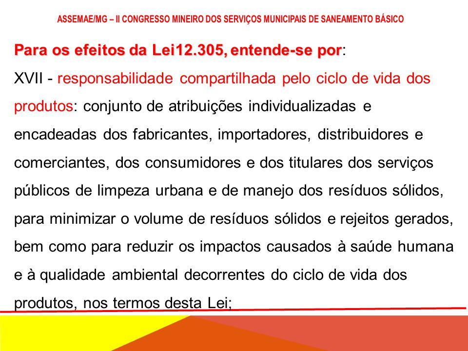 Para os efeitos da Lei12.305, entende-se por Para os efeitos da Lei12.305, entende-se por: XVI - resíduos sólidos: material, substância, objeto ou bem
