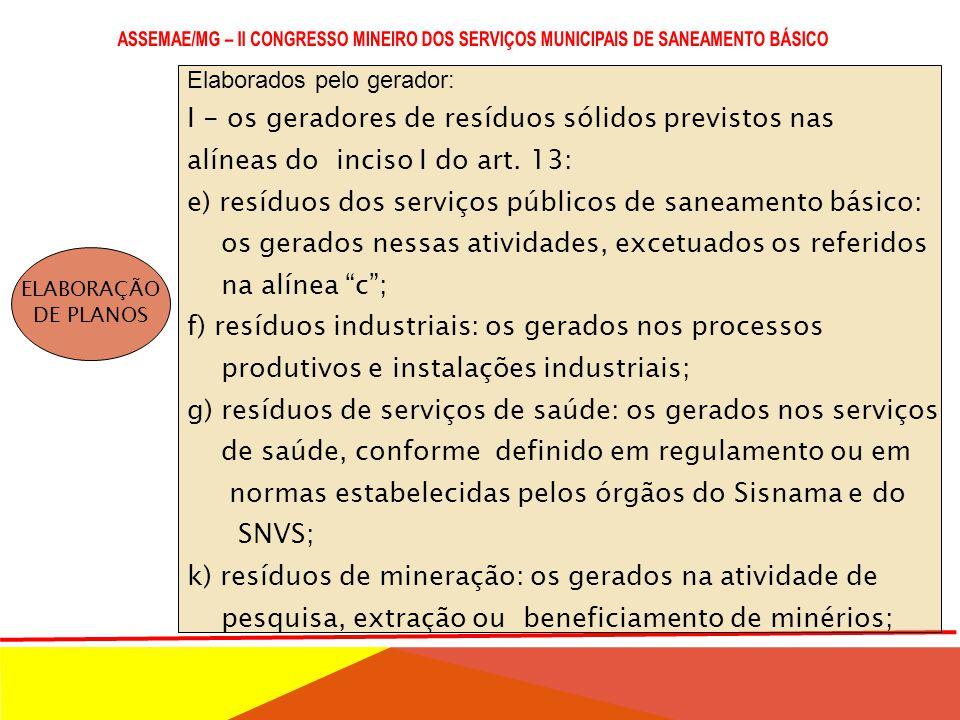 LEI Nº 12.305/2010 (PNRS) E DECRETO Nº 7.404/2010 ELABORAÇÃO DE PLANOS 1.Planos de gerenciamento de resíduos sólidos elaborados pelo Poder Público. 2.