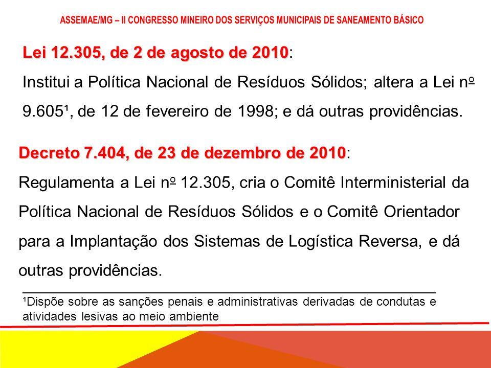 Lei 12.305, de 2 de agosto de 2010 Lei 12.305, de 2 de agosto de 2010: Institui a Política Nacional de Resíduos Sólidos; altera a Lei n o 9.605¹, de 12 de fevereiro de 1998; e dá outras providências.