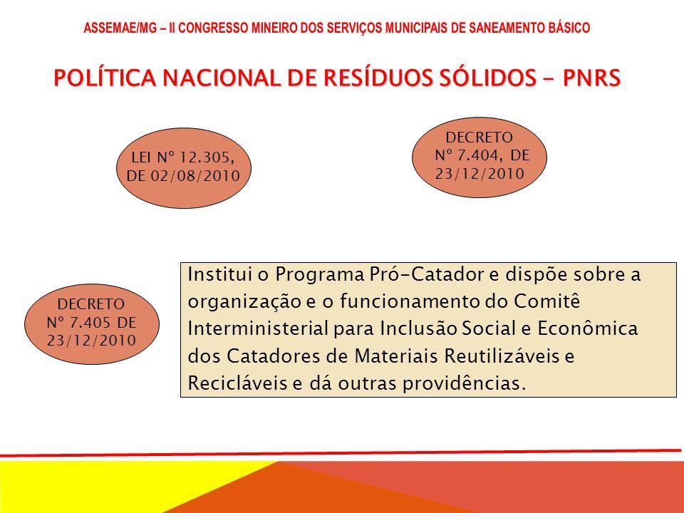 POLÍTICA NACIONAL DE RESÍDUOS SÓLIDOS - PNRS LEI Nº 12.305, DE 02/08/2010 DECRETO Nº 7.404, DE 23/12/2010 DECRETO Nº 7.405 DE 23/12/2010 Institui o Programa Pró-Catador e dispõe sobre a organização e o funcionamento do Comitê Interministerial para Inclusão Social e Econômica dos Catadores de Materiais Reutilizáveis e Recicláveis e dá outras providências.