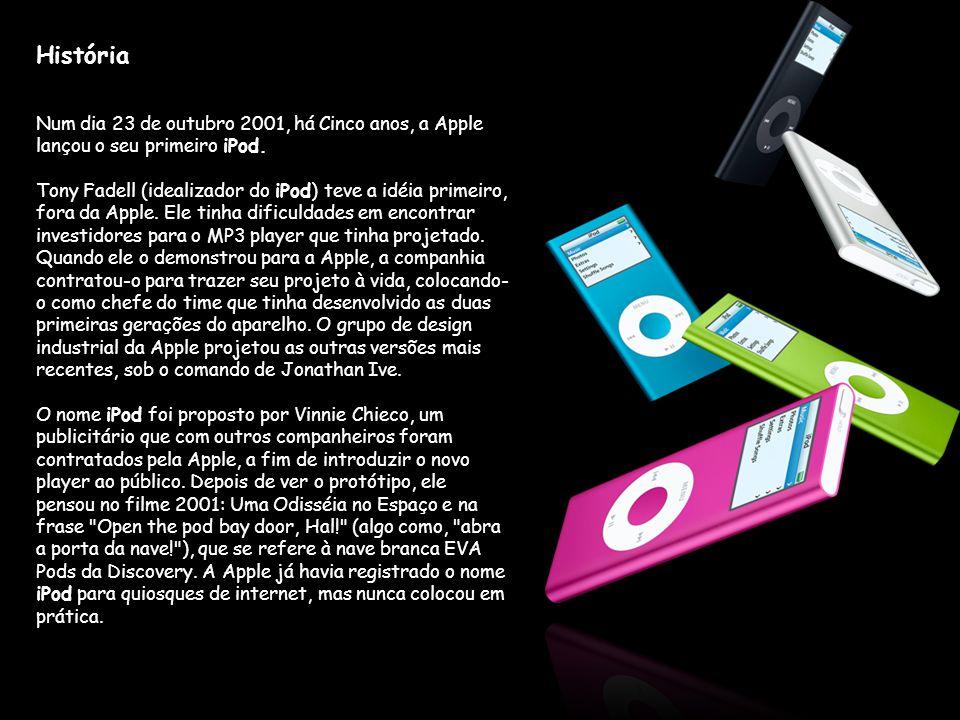 História Num dia 23 de outubro 2001, há Cinco anos, a Apple lançou o seu primeiro iPod.