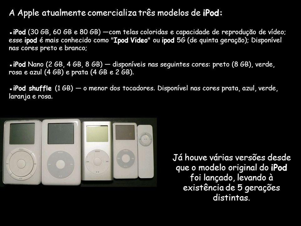 A Apple atualmente comercializa três modelos de iPod: ▪iPod (30 GB, 60 GB e 80 GB) —com telas coloridas e capacidade de reprodução de vídeo; esse ipod é mais conhecido como Ipod Video ou ipod 5G (de quinta geração); Disponível nas cores preto e branco; ▪iPod Nano (2 GB, 4 GB, 8 GB) — disponíveis nas seguintes cores: preto (8 GB), verde, rosa e azul (4 GB) e prata (4 GB e 2 GB).