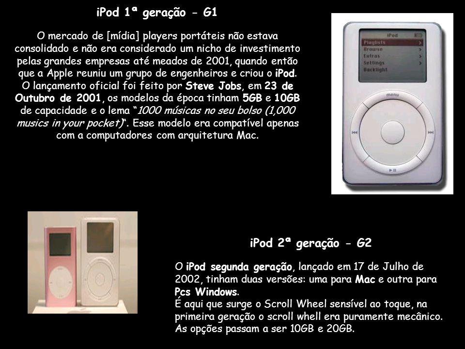 iPod 1ª geração - G1 O mercado de [mídia] players portáteis não estava consolidado e não era considerado um nicho de investimento pelas grandes empresas até meados de 2001, quando então que a Apple reuniu um grupo de engenheiros e criou o iPod.