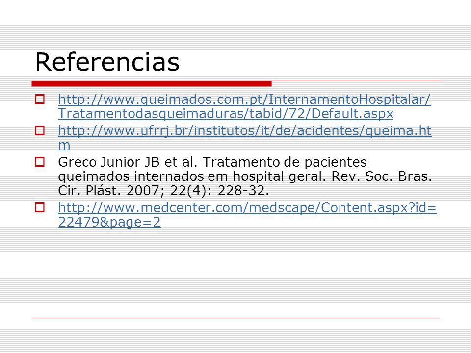 Referencias  http://www.queimados.com.pt/InternamentoHospitalar/ Tratamentodasqueimaduras/tabid/72/Default.aspx http://www.queimados.com.pt/Intername